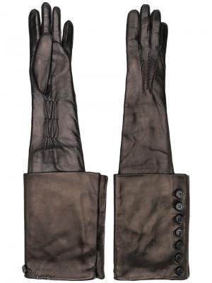 Удлиненные перчатки с пуговицами Ann Demeulemeester. Цвет: черный
