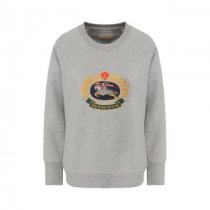 Хлопковый пуловер Burberry. Цвет: серый