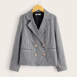 Двубортный пиджак в клетку с клиновидным вырезом для девочек SHEIN. Цвет: чёрнобелые