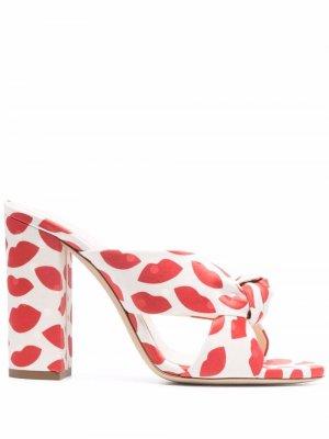 Bianca 100mm lip-print mules Saint Laurent. Цвет: красный