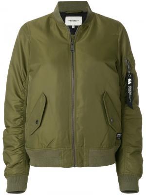 Дутая куртка бомбер Carhartt. Цвет: зелёный