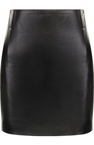 Однотонная кожаная мини-юбка Saint Laurent. Цвет: черный