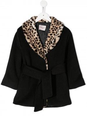 Пальто с воротником-шалькой и поясом Mariuccia Milano Kids. Цвет: черный