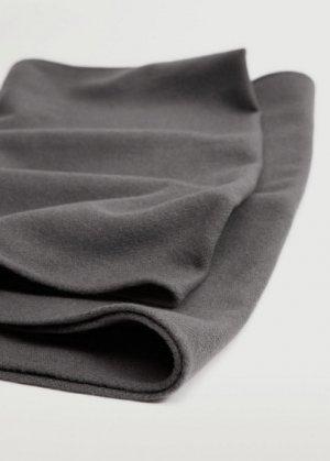 Базовый шарф с бахромой - Basic Mango. Цвет: меланжевый темно-серый