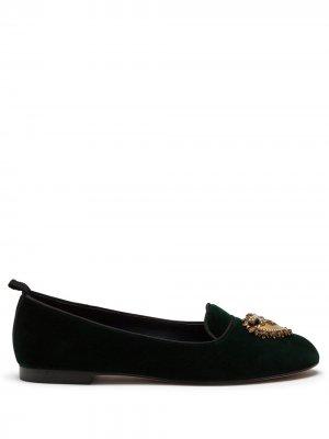 Бархатные слиперы Devotion Dolce & Gabbana. Цвет: зеленый
