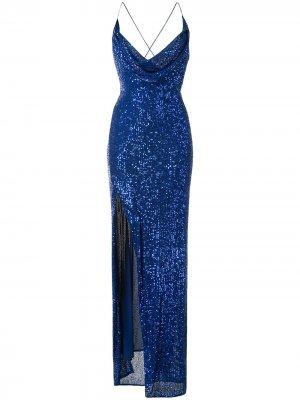 Длинное платье Milena с пайетками Jay Godfrey. Цвет: синий