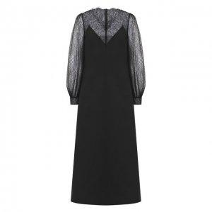 Платье-миди Valentino. Цвет: чёрный