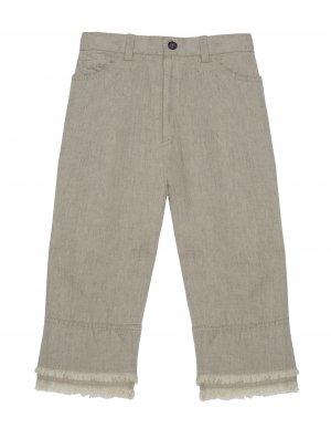 Бежевые джинсы из хлопка и льна Lost&Found kids
