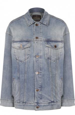 Джинсовая куртка прямого кроя с накладными карманами Roberto Cavalli. Цвет: синий