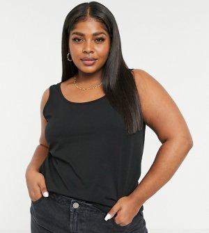 Черная облегающая майка -Черный Only Curve