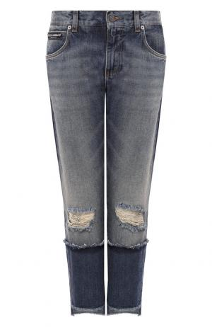 Укороченные джинсы прямого кроя с потертостями Dolce & Gabbana. Цвет: голубой