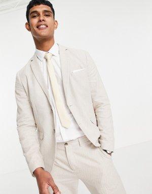 Бежевый пиджак узкого кроя из ткани с добавлением льна -Светло-бежевый цвет Selected Homme