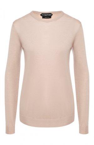 Пуловер из смеси кашемира и шелка Tom Ford. Цвет: бежевый