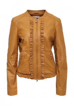 Куртка кожаная Patrizia Pepe PA748EWPAF28. Цвет: коричневый