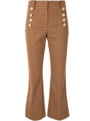 Расклешенные брюки в клетку на пуговицах Derek Lam 10 Crosby. Цвет: коричневый