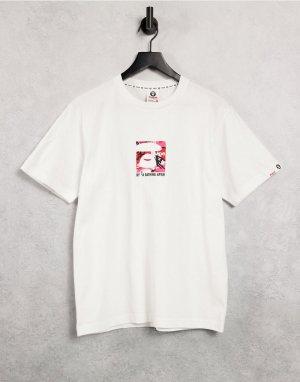 Белая футболка с квадратным принтом AAPE By A Bathing Ape-Белый APE®