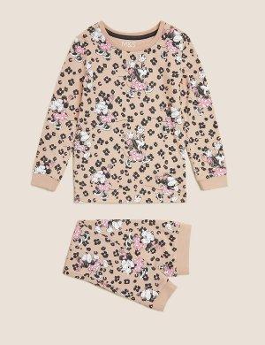 Хлопковая пижама с принтом Minnie Mouse™ Marks & Spencer. Цвет: мульти