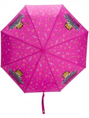 Зонт с принтом Moschino. Цвет: розовый