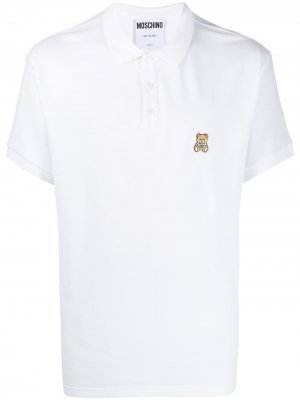 Рубашка-поло с вышивкой Teddy Bear Moschino. Цвет: белый