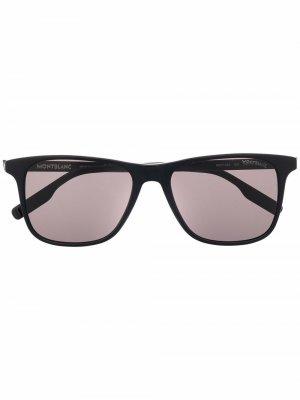 Солнцезащитные очки в оправе черепаховой расцветки Montblanc. Цвет: черный