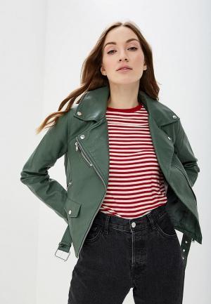 Куртка кожаная Vila. Цвет: зеленый