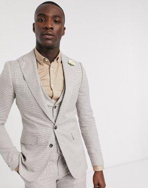 Приталенный пиджак с узором гусиная лапка Tall-Коричневый цвет Gianni Feraud