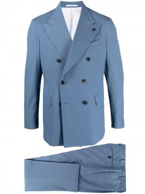 Костюм-двойка с двубортным пиджаком Gabriele Pasini. Цвет: синий