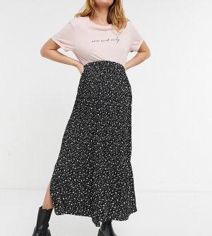 Черная юбка макси со складками и звездным принтом -Черный цвет Topshop Maternity