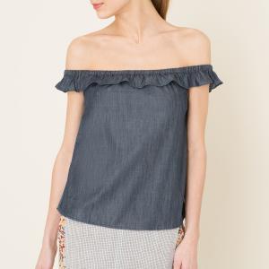 Блузка с воланом из денима DENIM AND SUPPLY RALPH LAUREN. Цвет: синий деним