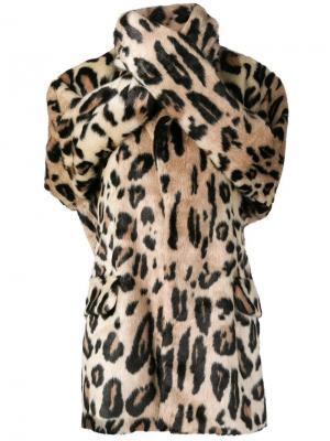 Меховой жакет с леопардовым узором Junya Watanabe. Цвет: коричневый