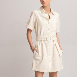 Платье-рубашка LaRedoute. Цвет: бежевый