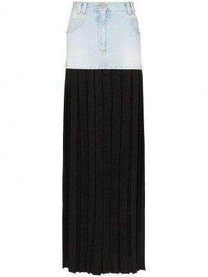 Плиссированная юбка макси со вставкой из денима Balmain