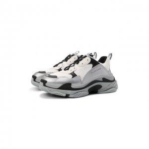 Комбинированные кроссовки Triple S Balenciaga. Цвет: серый