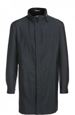 Шелковый макинтош с норковым подкладом Andrea Campagna. Цвет: темно-синий
