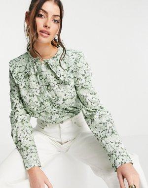 Многоцветная блузка с большим воротником и цветочным принтом из органического хлопка -Зеленый цвет & Other Stories