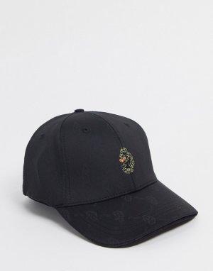 Бархатная спортивная кепка с принтом -Черный Luke