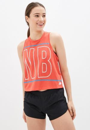 Майка спортивная New Balance PRINTED VELOCITY CROP TANK. Цвет: красный
