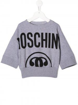 Укороченная толстовка с логотипом Moschino Kids. Цвет: серый