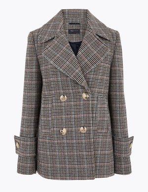 Пальто-бушлат в клетку с добавлением шерсти M&S Collection. Цвет: миндаль