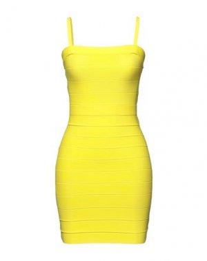 Короткое платье HERVÉ LÉGER. Цвет: желтый