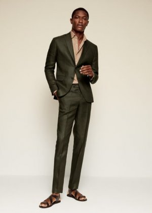 Костюмный пиджак slim fit изо льна - Florida-i Mango. Цвет: зеленый