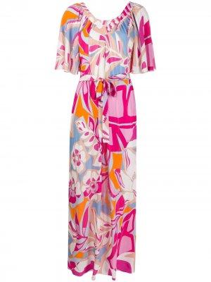 Длинное пляжное платье с принтом Emilio Pucci. Цвет: розовый