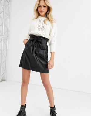 Черная мини-юбка из искусственной кожи -Черный New Look
