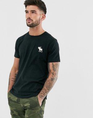 Черная футболка с круглым вырезом и логотипом Abercrombie & Fitch. Цвет: черный
