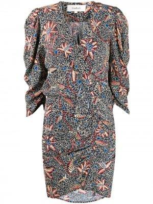 Платье с цветочным принтом и запахом Ba&Sh. Цвет: синий