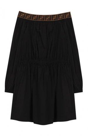 Хлопковое платье Fendi. Цвет: черный