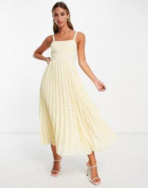 Желтое плиссированное платье миди с эластичной завязкой на спинке -Желтый ASOS DESIGN