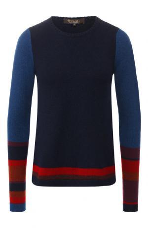 Кашемировый пуловер с контрастной полоской Loro Piana. Цвет: темно-синий