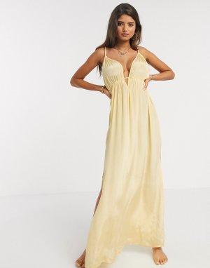 Золотисто-желтое пляжное платье макси с чашечками для груди большого размера -Желтый ASOS DESIGN
