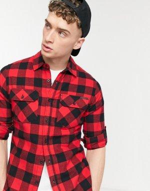 Рубашка в красно-черную клетку -Красный Criminal Damage